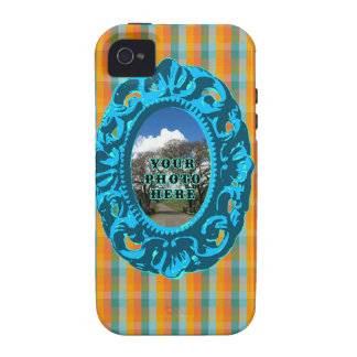 Orange Plaid and Teal Frame Vibe iPhone 4 Case