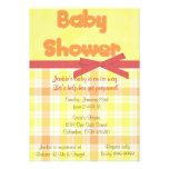 Orange Plaid Baby Shower Invitation