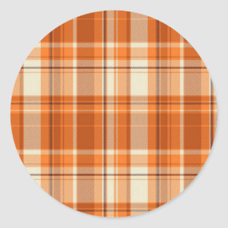 Orange plaid classic round sticker