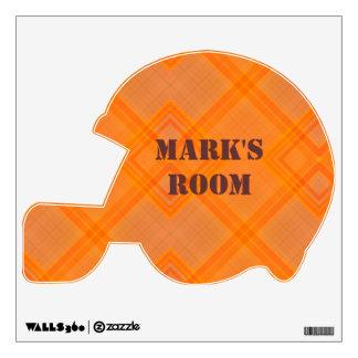 Orange Plaid Football Helmet Wall Sticker