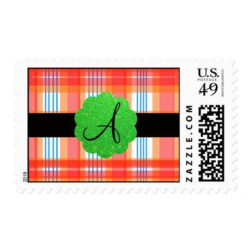 Orange plaid monogram postage stamp