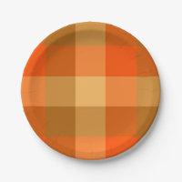 Orange Plaid Paper Plate