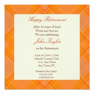 Orange Plaid Retirement Party Invitation