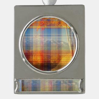 orange plaid silver plated banner ornament