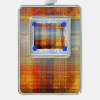 orange plaid silver plated framed ornament