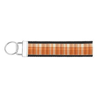 Orange plaid wrist keychain