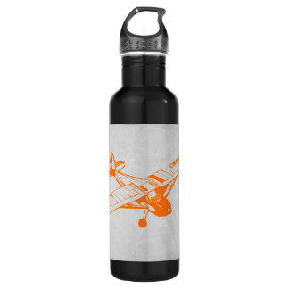 Orange Plane Stainless Steel Water Bottle