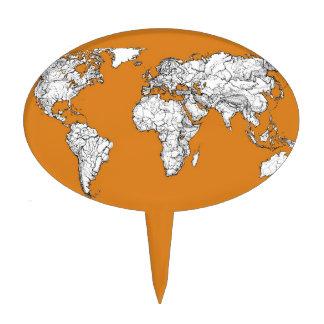 orange planet earth map cake topper