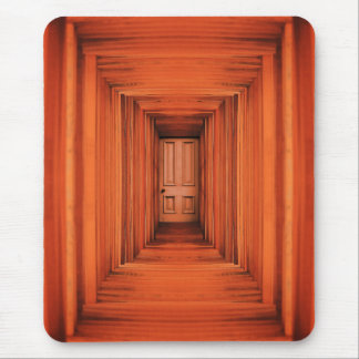 Orange Planks Hall And Door Mouse Pad