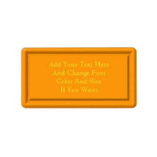 Orange Plastic Label Template