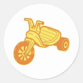 Orange Plastic Tricycle Graphic Classic Round Sticker