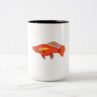 Orange Platy Fish Two-Tone Coffee Mug