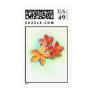 orange plumeria stamps