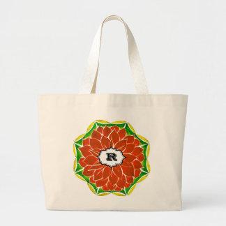 ORANGE POINSETTIA Design Jumbo Tote Bag