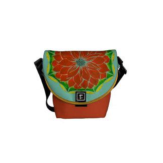 ORANGE POINSETTIA Design Messenger Bag