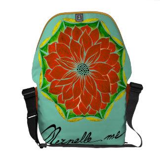 ORANGE POINSETTIA Design Messenger Bags