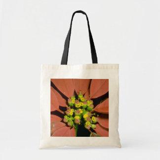 Orange Poinsettia (Euphorbia pulcherrima) flowers Budget Tote Bag