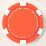 Orange Poker Chip Sandstone Coaster