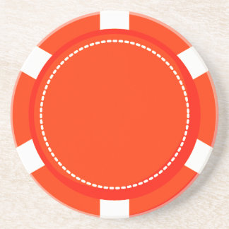 Orange Poker Chip Sandstone Coaster