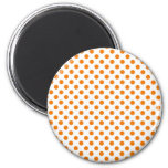Orange Polka Dot 2 Inch Round Magnet