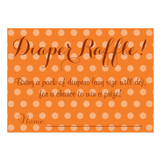 Orange Polka Dot Baby Shower Diaper Raffle Tickets Large Business Cards (Pack Of 100)