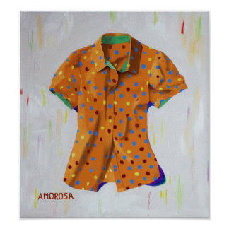 Orange Polka Dot Blouse Poster
