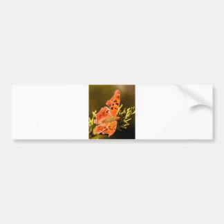 Orange Polka Dot Butterfly Bumper Sticker
