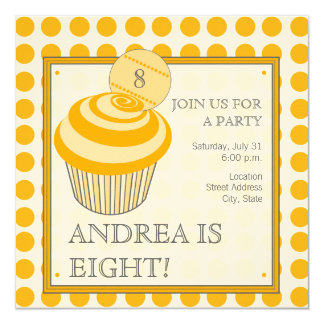 Orange Polka Dot Cupcake Birthday Party Invitation