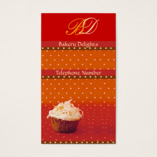 Orange Polka Dot Cupcake Business Cards