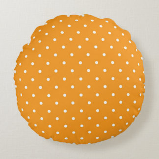 Orange Polka Dot Design Round Pillow