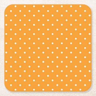Orange Polka Dot Design Square Paper Coaster