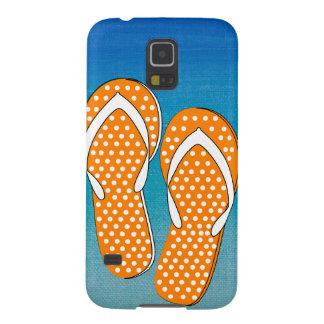 Orange Polka Dot Flip-Flops Galaxy S5 Cover