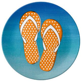Orange Polka Dot Flip-Flops Porcelain Plates