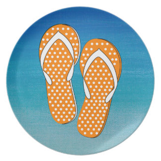 Orange Polka Dot Flip-Flops Plates