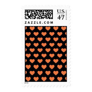 Orange Polka Dot Hearts (Black Background) Postage
