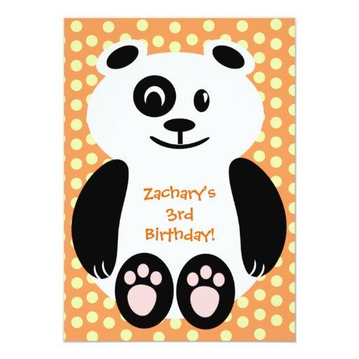 Orange Polka Dot Panda Birthday Invitations