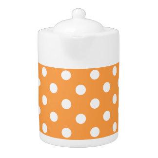Orange Polka Dot Pattern Teapot