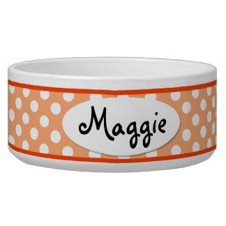 Orange Polka Dot Personalized Ceramic Dog Bowl