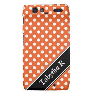Orange Polka Dot personalized Droid RAZR Case