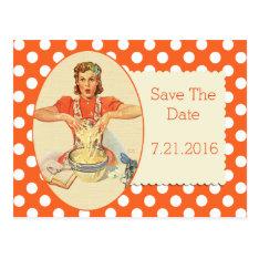 Orange Polka Dot Retro Save The Date Postcard at Zazzle