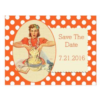 Orange Polka Dot Retro Save The Date Postcard