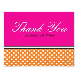 Orange Polka Dot With Pink Wedding Thank You Card