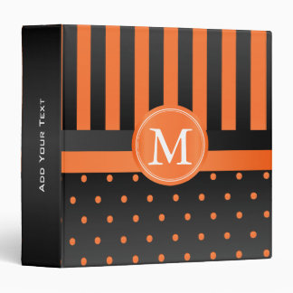 Orange Polka Dots and Black Stripes 3 Ring Binder