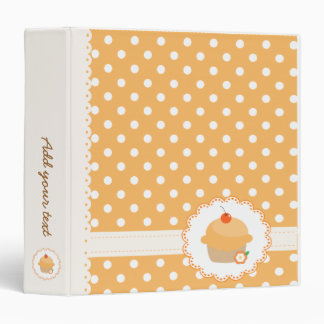 Orange Polka Dots Cupcake 3 Ring Binder