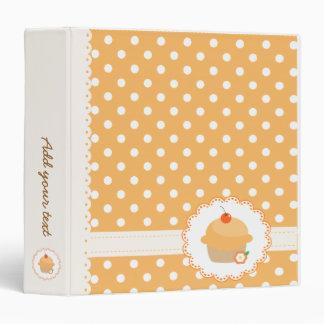 Orange Polka Dots Cupcake 3 Ring Binders
