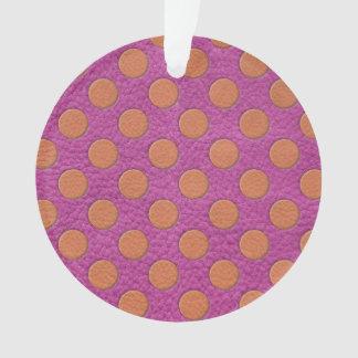 Orange Polka Dots on Pink Magenta Leather Print
