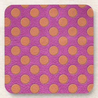 Orange Polka Dots on Pink Magenta Leather print Drink Coaster
