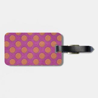 Orange Polka Dots on Pink Magenta Leather print Luggage Tag