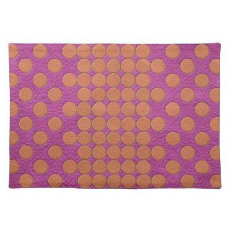 Orange Polka Dots on Pink Magenta Leather print Placemat
