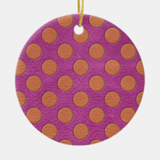 Orange Polka Dots on Pink Magenta Leather Texture Christmas Ornaments